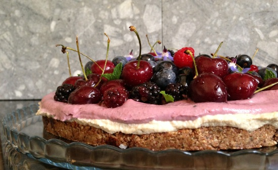 raw berry cherry cake